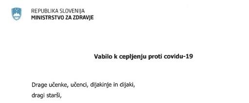 Nagovor ministra za zdravje – vabilo k cepljenju proti covidu-19